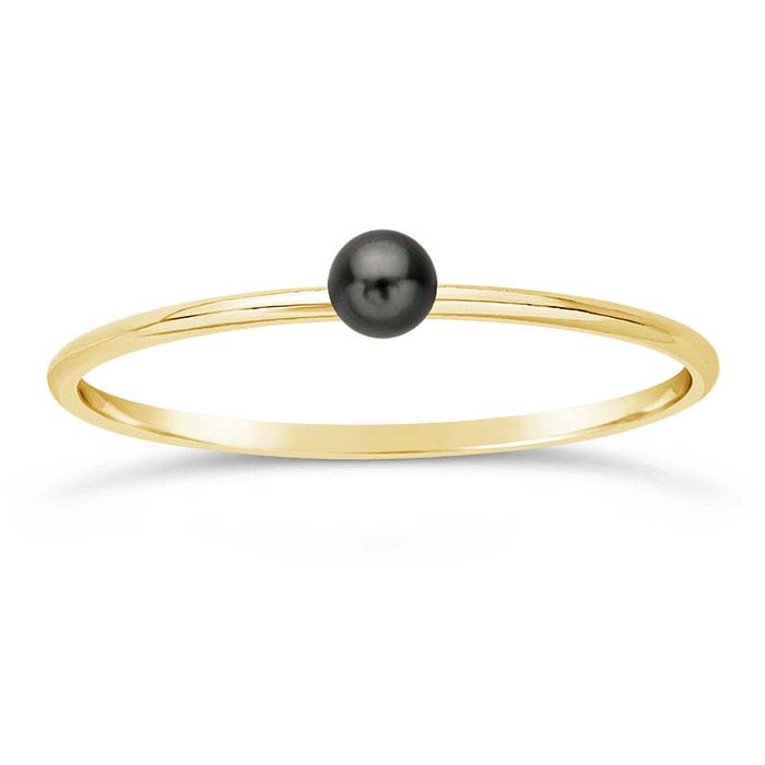 14/20 Yellow Gold-Filled Swarovski® Dark-Gray Pearl-Set Rings