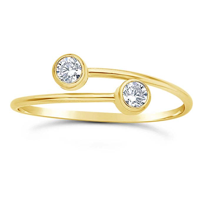 14/20 Yellow Gold-Filled CZ-Set Bypass Ring, Adjustable