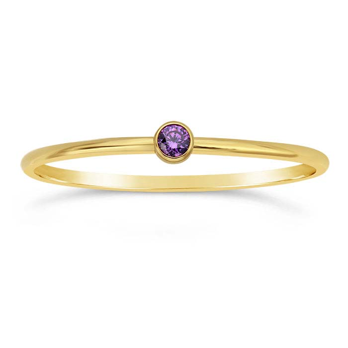 14/20 Yellow Gold-Filled Purple CZ-Set Rings