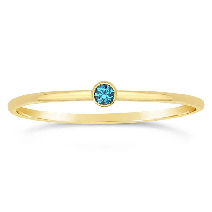 14/20 Yellow Gold-Filled Aqua-Blue CZ-Set Rings