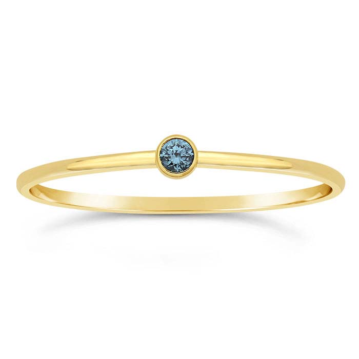 14/20 Yellow Gold-Filled Swiss-Blue CZ-Set Rings