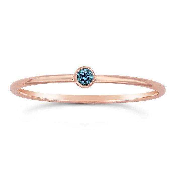 14/20 Rose Gold-Filled Aqua-Blue CZ-Set Rings