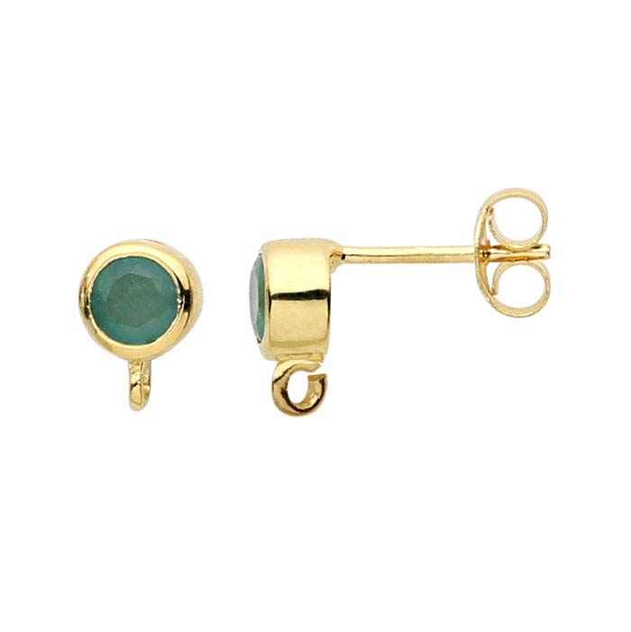 14K Yellow Gold Emerald-Set Post Earring with Open Ring