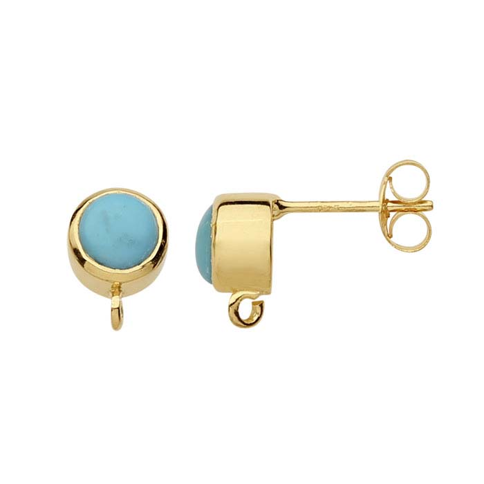 14K Yellow Gold Turquoise-Set Post Earring with Open Ring