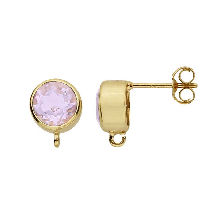 14K Yellow Gold Pink Amethyst-Set Post Earring with Open Ring
