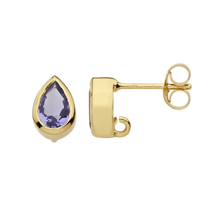 14K Yellow Gold Tanzanite-Set Post Earring with Open Ring