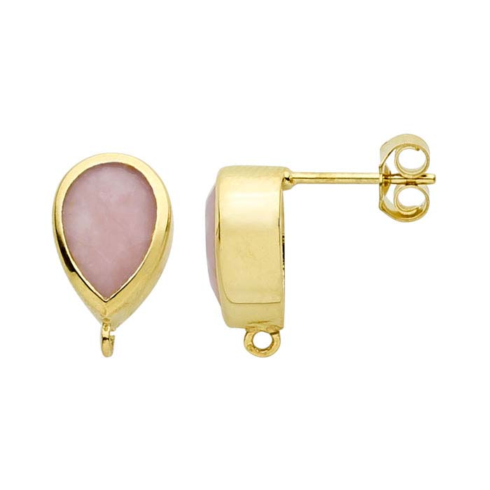 14K Yellow Gold Pink Opal-Set Post Earring with Open Ring