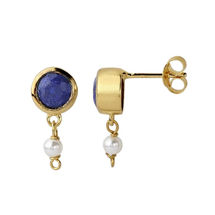 14K Yellow Gold Lapis Lazuli-Set Post Earring with Pearl Drop