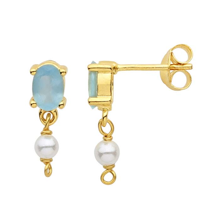 14K Yellow Gold Apatite-Set Post Earring with Pearl Drop
