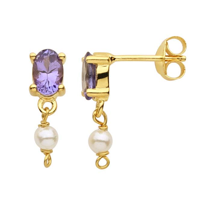 14K Yellow Gold Tanzanite-Set Post Earring with Pearl Drop