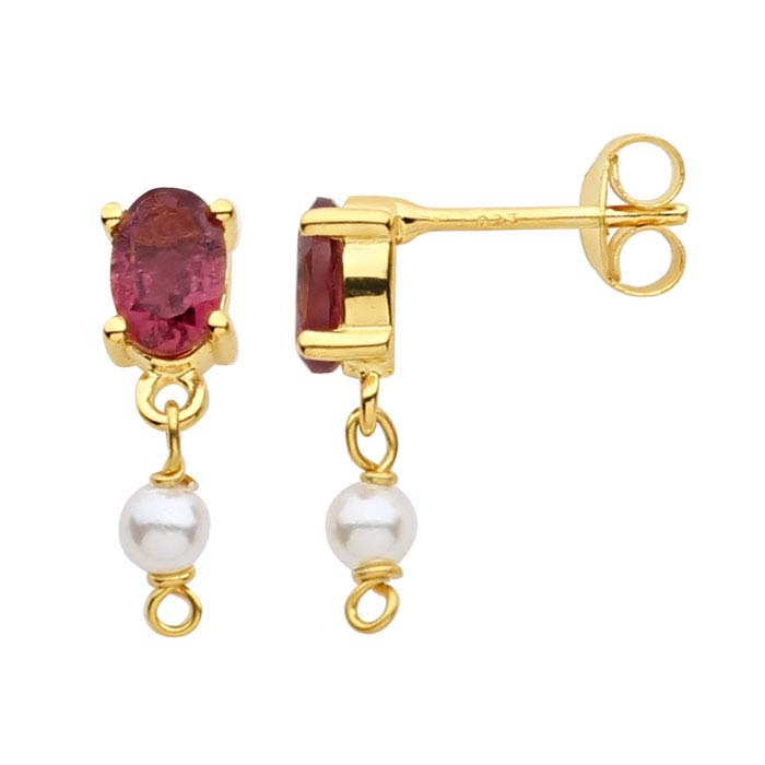 14K Yellow Gold Pink Tourmaline-Set Post Earring with Pearl Drop