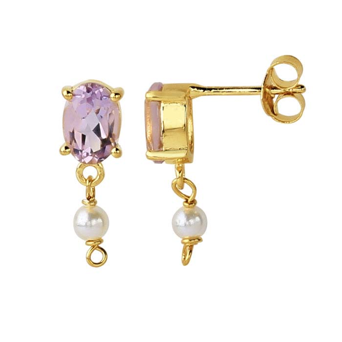 14K Yellow Gold Pink Amethyst-Set Post Earring with Pearl Drop