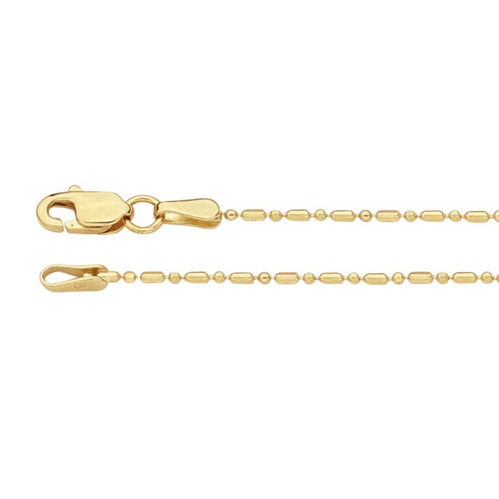 14K Yellow Gold Alternating Cylinder and Round Bead Chain