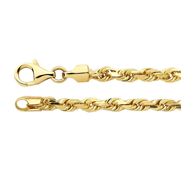 14K Yellow Gold Diamond-Cut French Rope Chains
