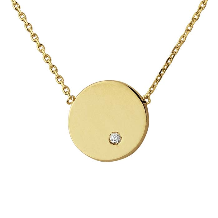 14K Yellow Gold Diamond-Set Disc Festoon Necklace