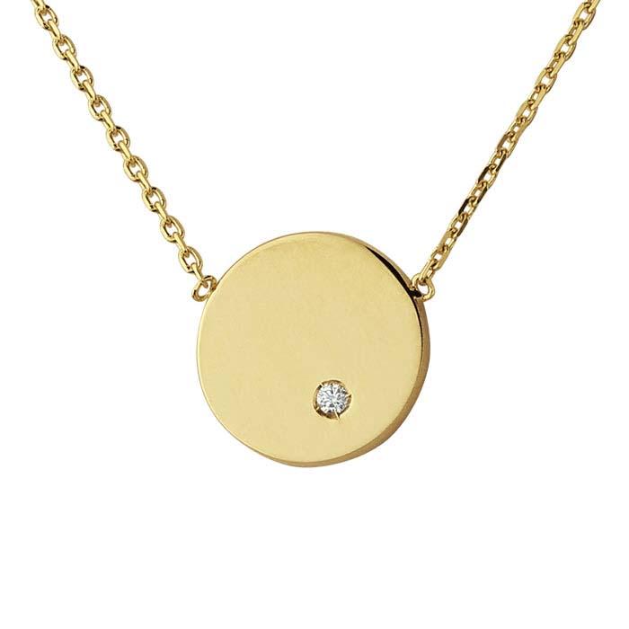 14K Yellow Gold Diamond-Set Disc Festoon Necklace