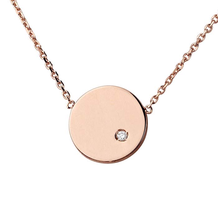 14K Rose Gold Diamond-Set Disc Festoon Necklace