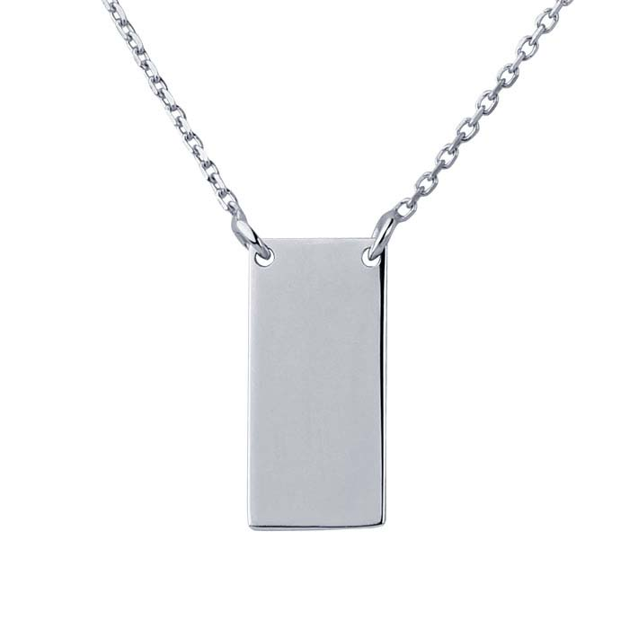14K White Gold Rectangle Festoon Necklace