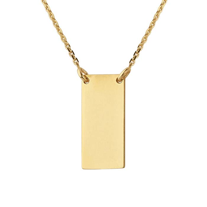 14K Yellow Gold Rectangle Festoon Necklace