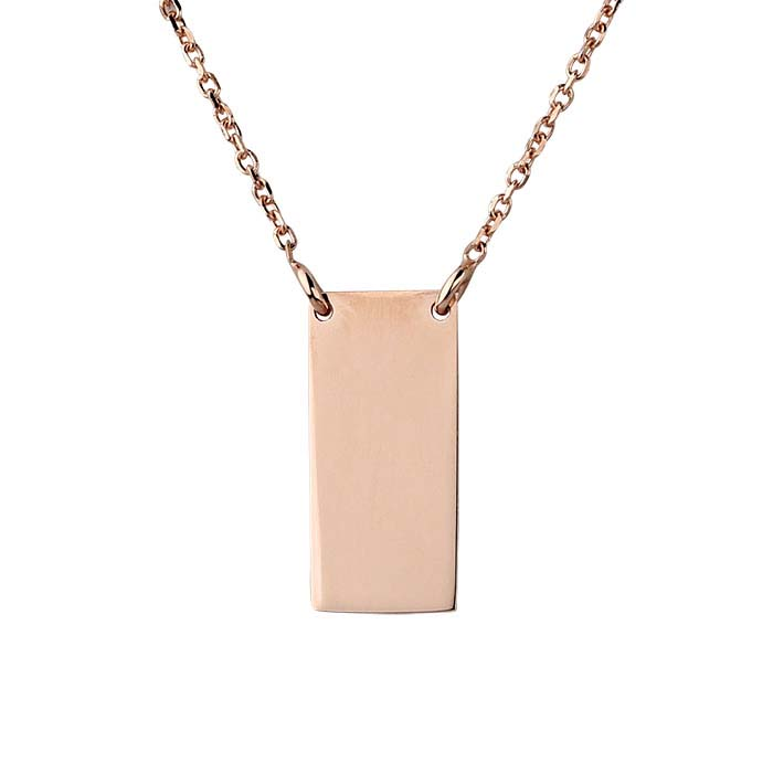 14K Rose Gold Rectangle Festoon Necklace