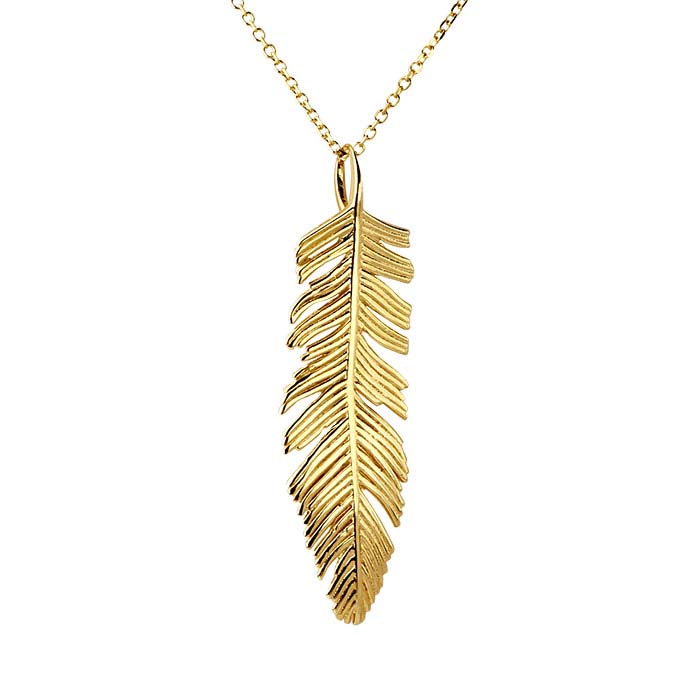 14K Yellow Gold Necklace with Feather Pendant