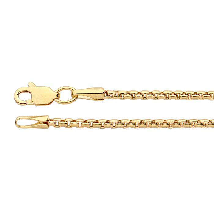 14K Yellow Gold Hollow Rounded Box Chains