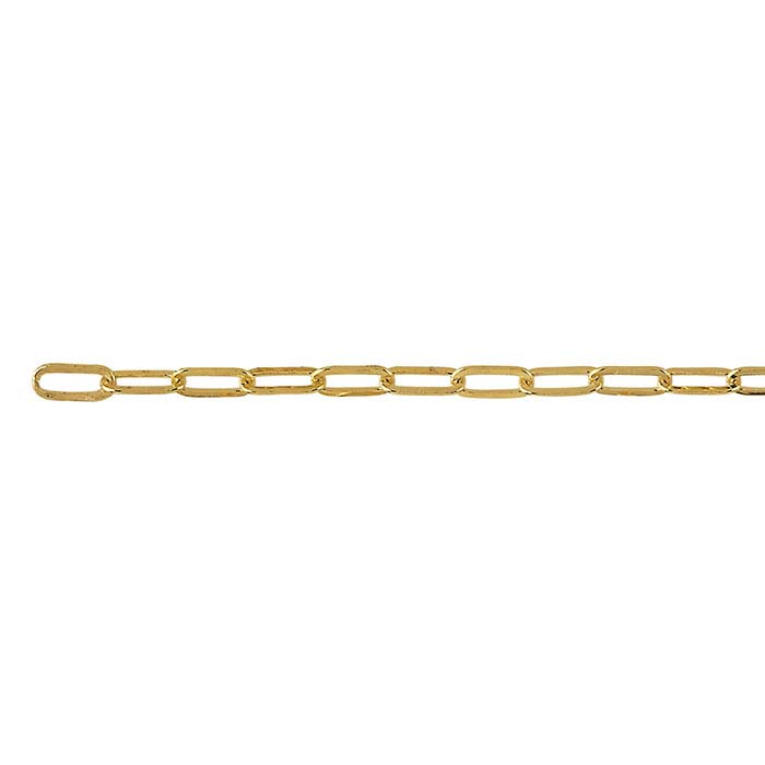 Brass Yellow Gold-Plated 2.5mm Flat Drawn Cable Chain, 20-ft. Spool