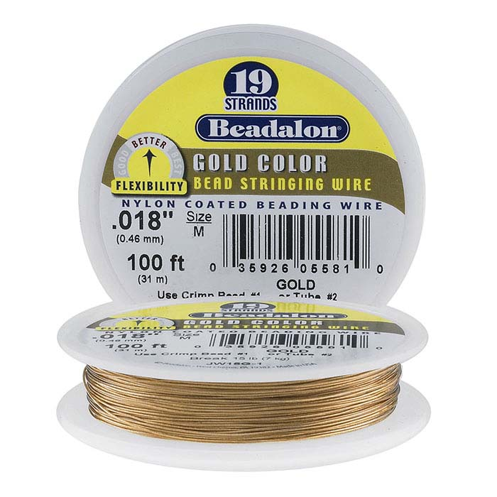 Beadalon® Designer Series 19-Strand Satin Gold Wire, 100-ft. Spool