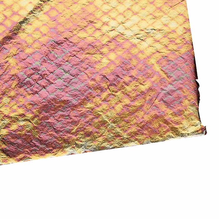 Pink Lace Variegated Brass Metal Patent Leaf