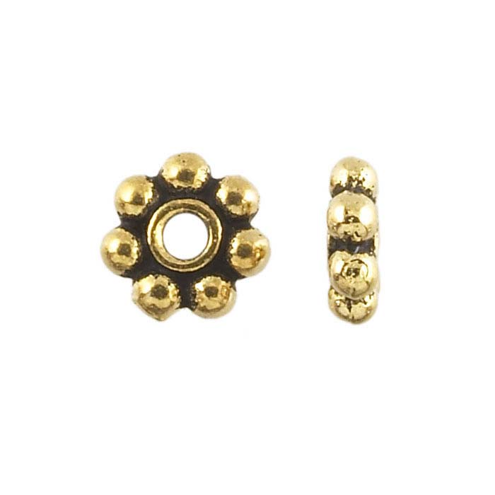Britannia Pewter Antique Yellow Gold-Plated Bali-Style Beads
