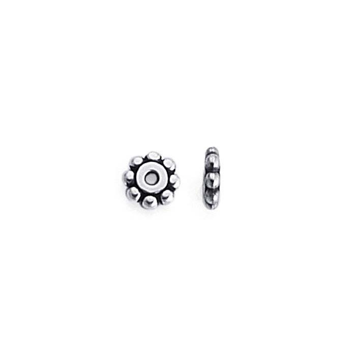 Britannia Pewter Antique Silver-Plated 6.2mm Bali-Style Bead