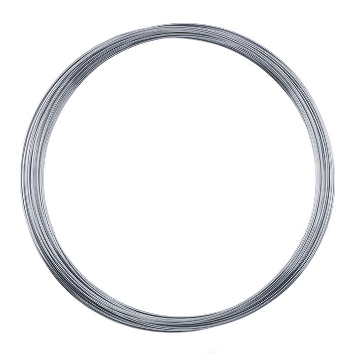 "Stainless Steel Necklace Memory Wire Coil, .024"" dia., 1-Oz."