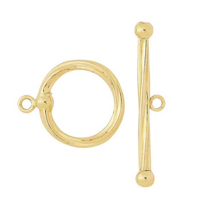 12/20 Yellow Gold-Filled Twist Ball-End Toggle Clasp