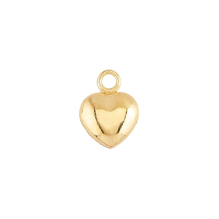 14/20 Yellow Gold-Filled Puffed Heart Charm