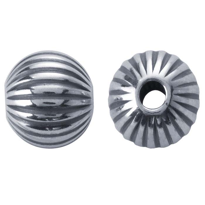 Sterling Silver Round Corrugated Seamless Beads