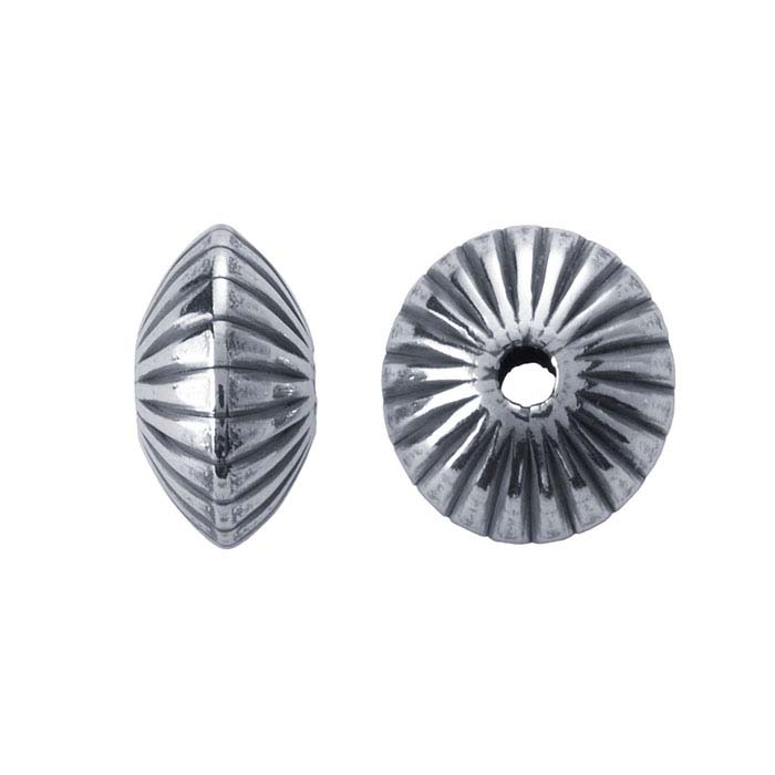 Sterling Silver Corrugated Saucer Beads
