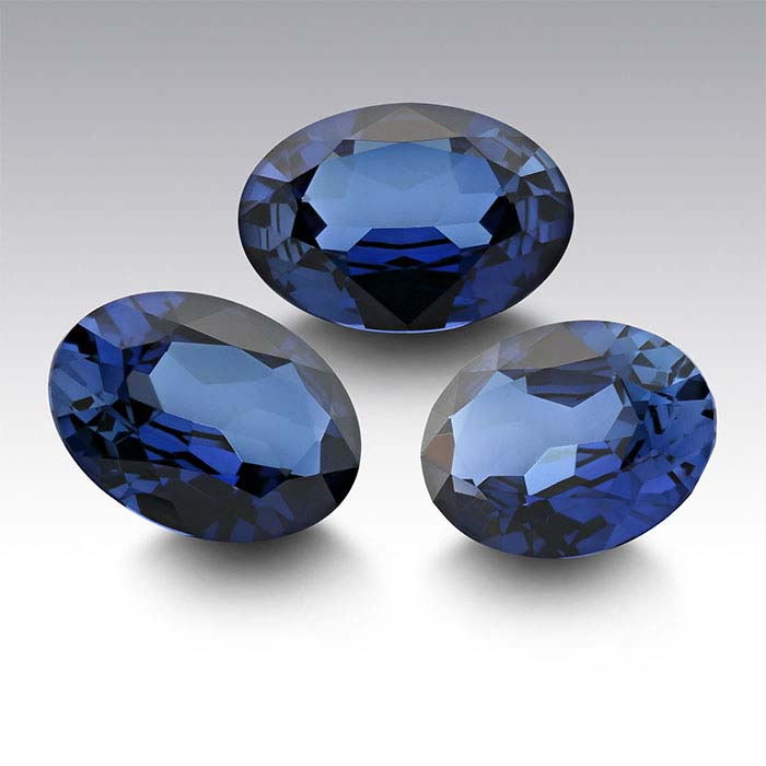 Lab-Created Sapphire Oval Faceted Stones