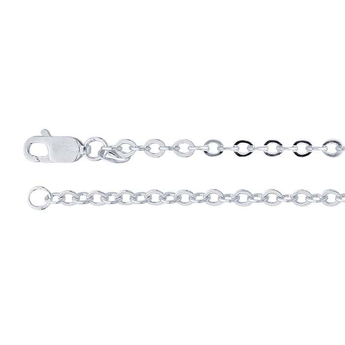 Argentium® Silver Flat Oval Cable Chains