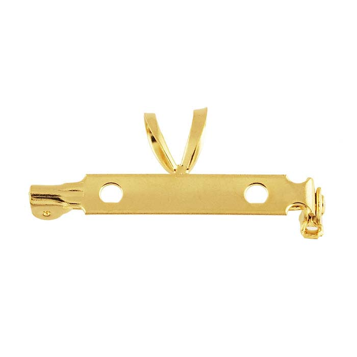 """Brass Yellow Gold-Plated 1"""" One-Piece Pin Back with Bail"""
