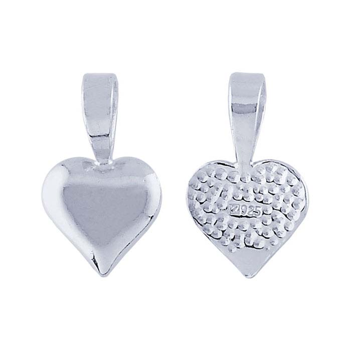 Sterling Silver Heart Glue-On Pendant Bail
