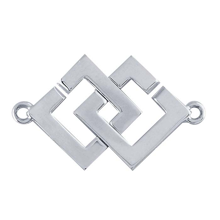 Sterling Silver Interlocking Square Hook & Eye Clasp