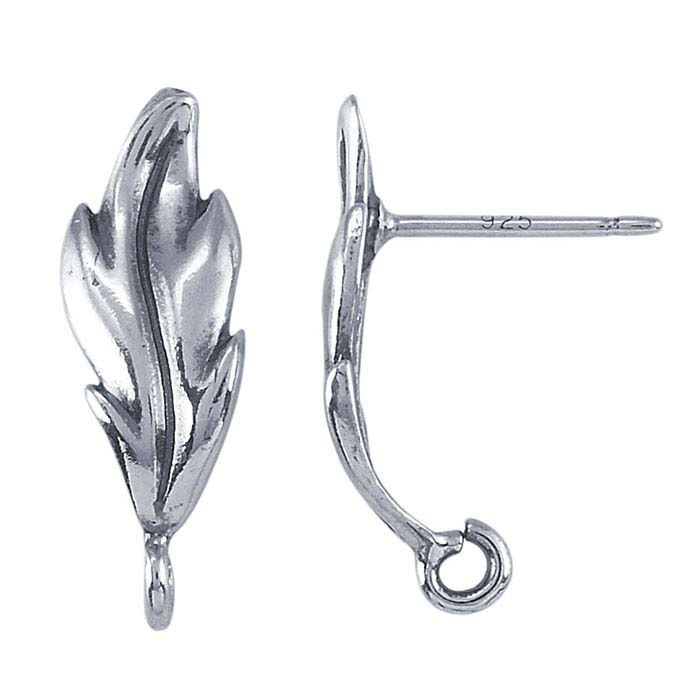 Sterling Silver Leaf Post Earring with Open Ring
