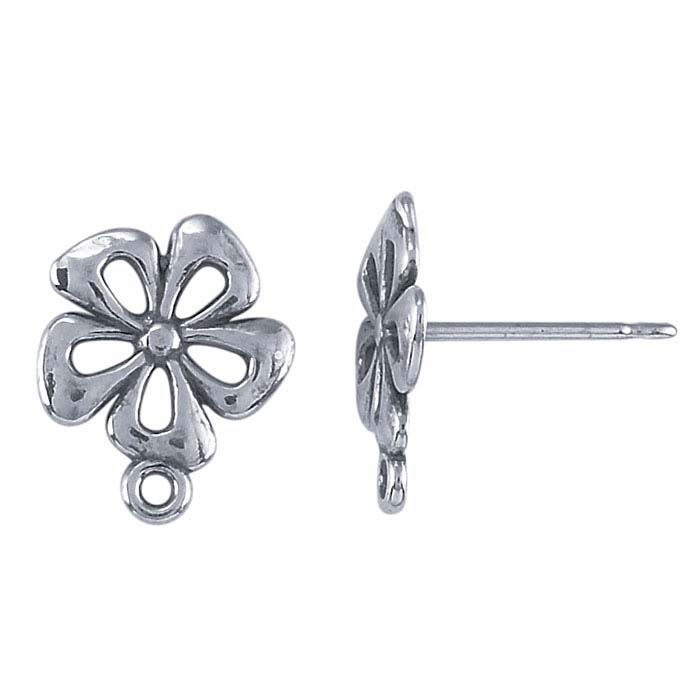 Sterling Silver Open Flower Post Earring with Closed Ring