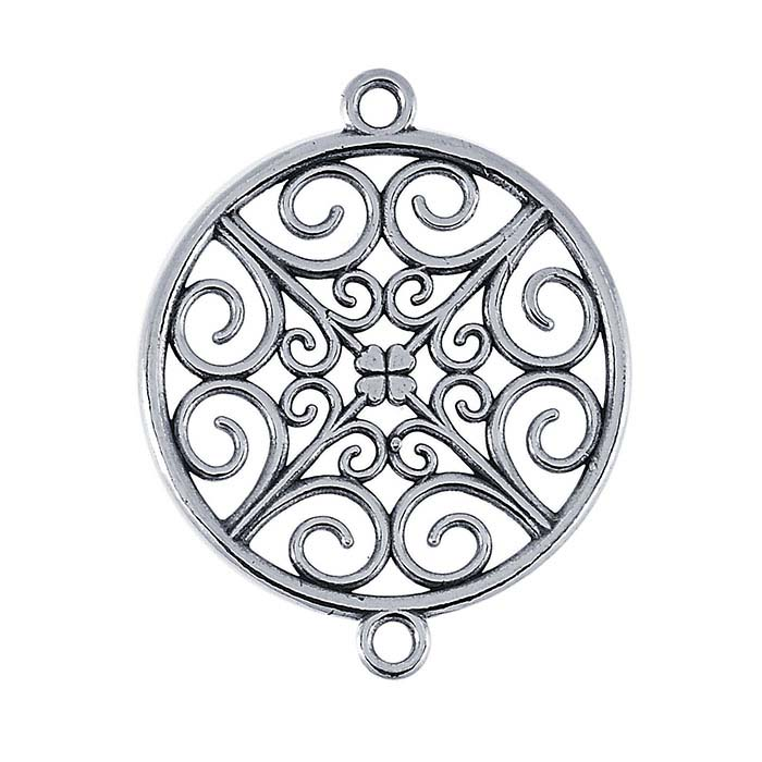 Sterling Silver Filigree Round Link Component