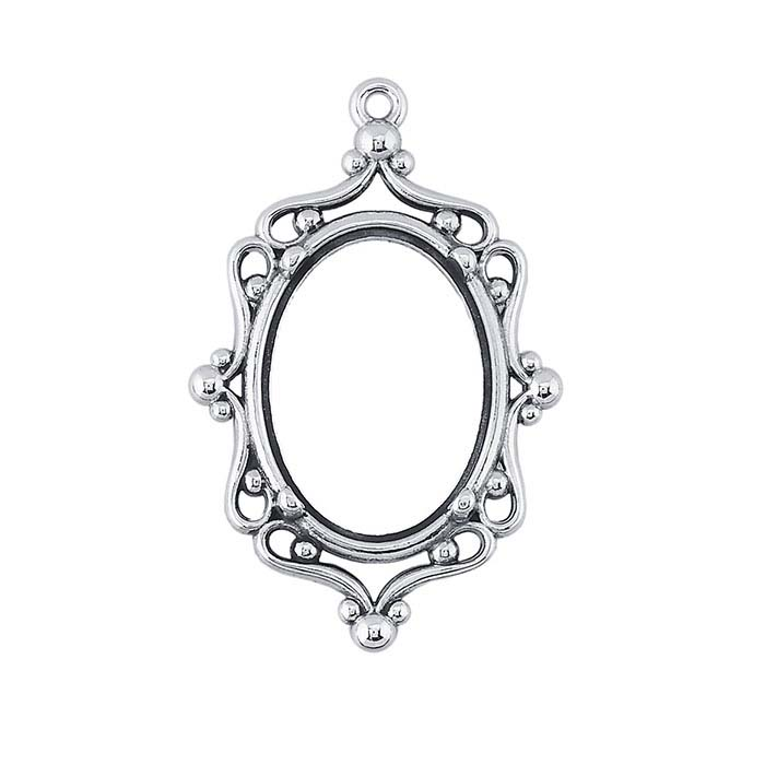 Sterling Silver 18 x 13mm Filigree Pendant Mounting, 4-Prong