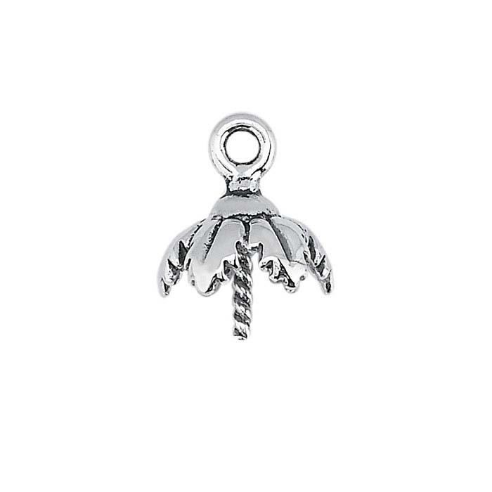 Sterling Silver Leaf 7.5mm Pearl Cap Component Mounting