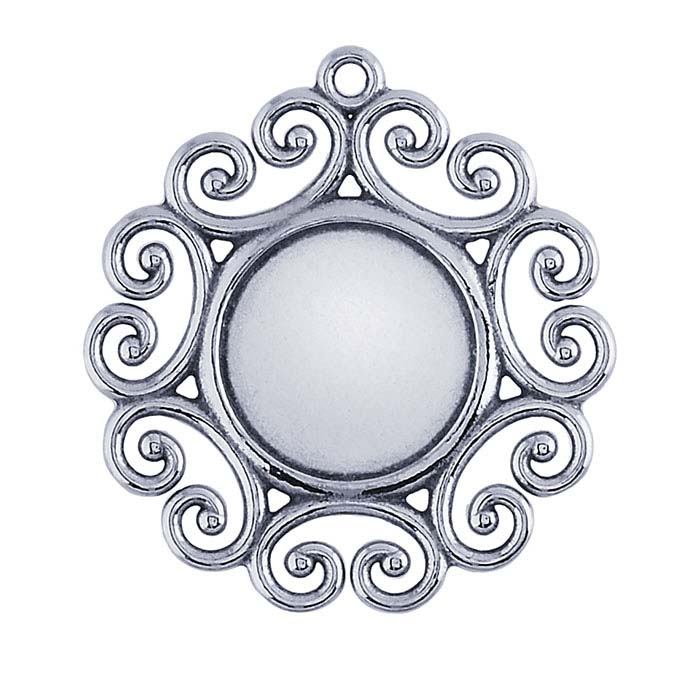 Sterling Silver 12mm Filigree Pendant Mounting