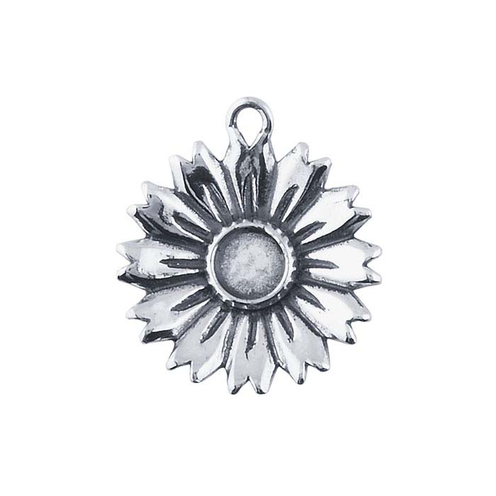 Sterling Silver Flower Component with 5mm Cabochon Mounting
