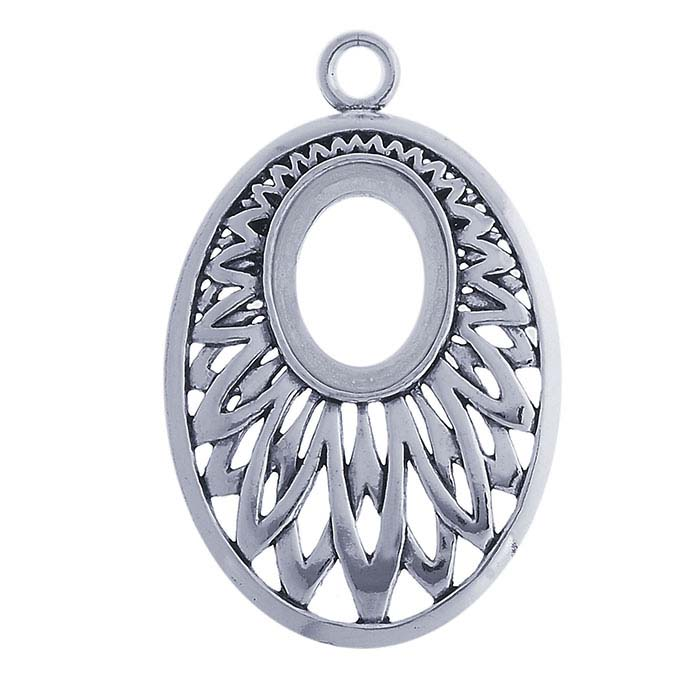 Sterling Silver 16 x 12mm Fancy Oval Pendant Mounting