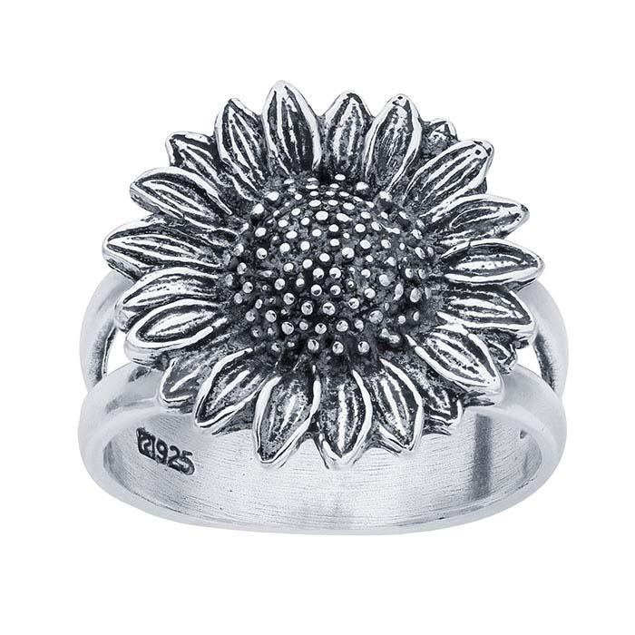 4f1792f1b Sterling Silver Split-Shank Oxidized Sunflower Rings